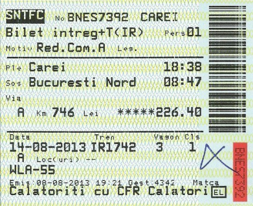 Romanian train ticket